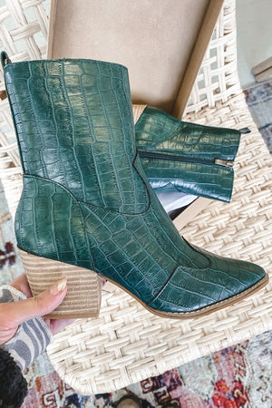 Make 'Em Remember Hunter Green Croc Booties