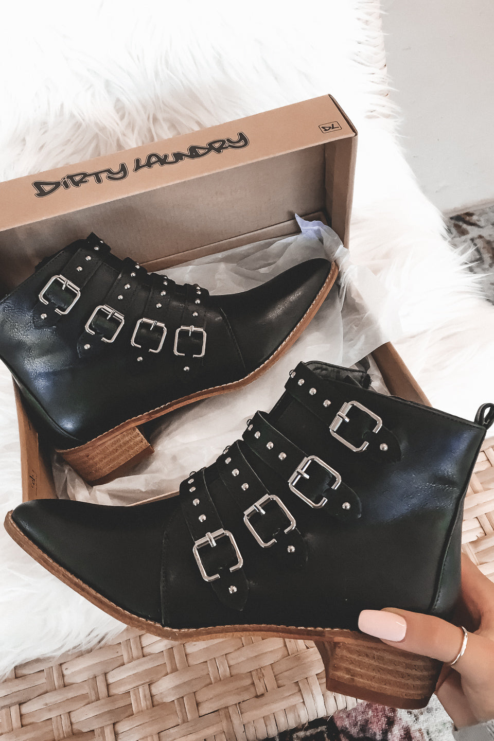 Around The Block Four Buckle Black Booties