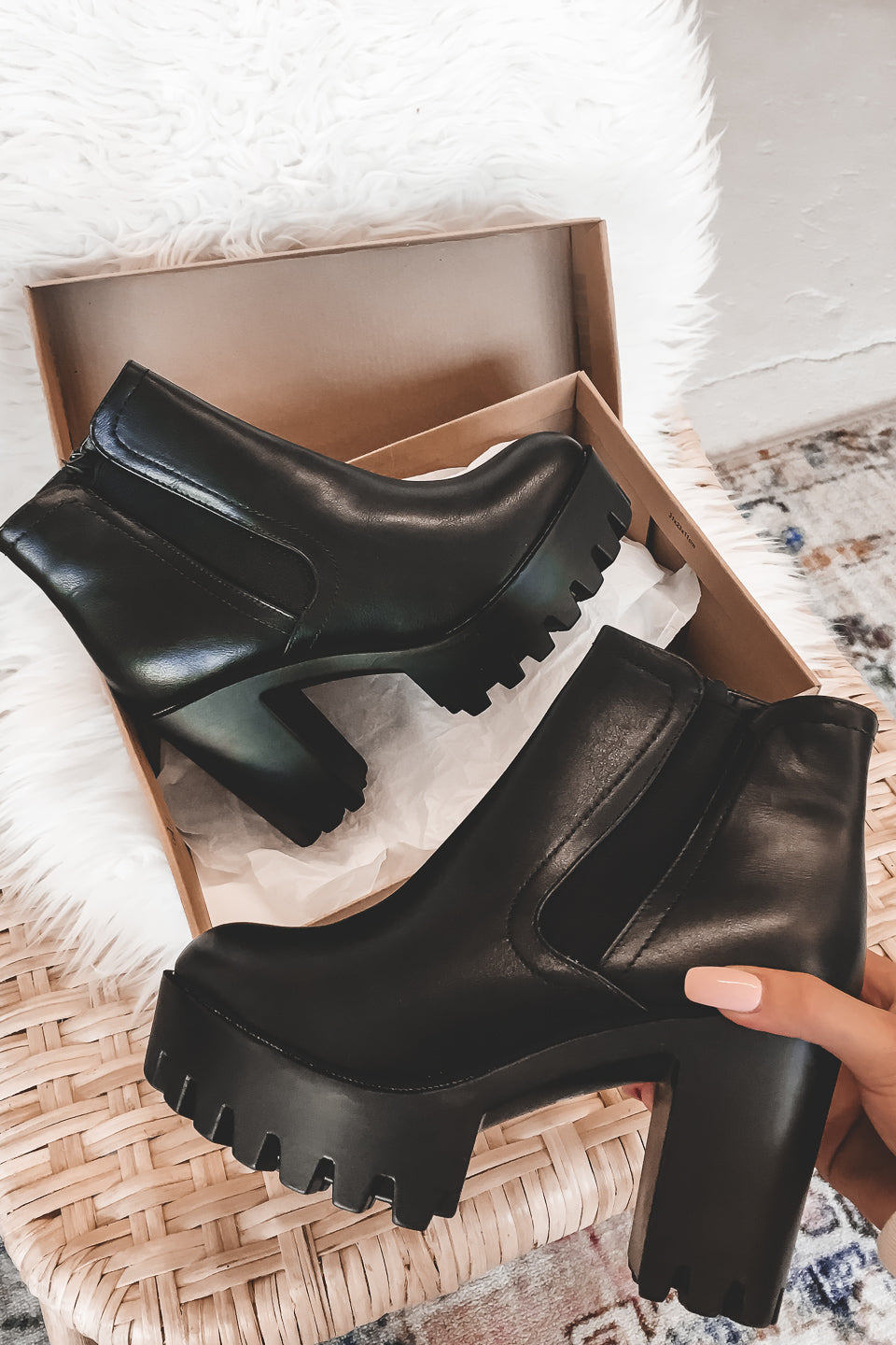 Spill The Tea Black Platform Booties