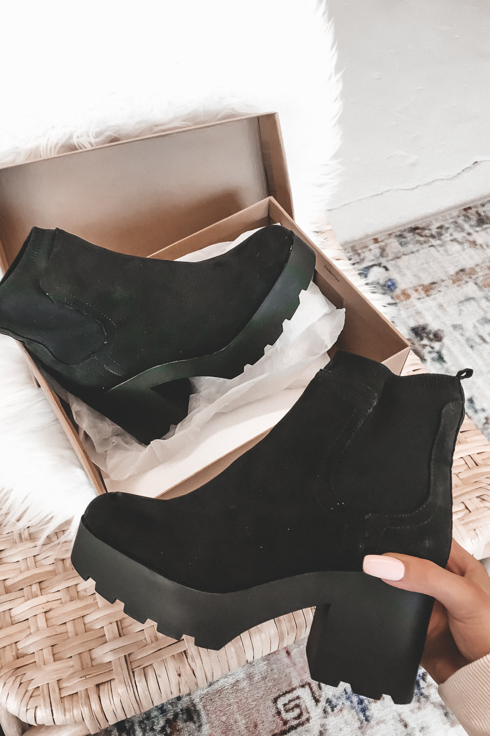 No Show Black Suede Platform Booties