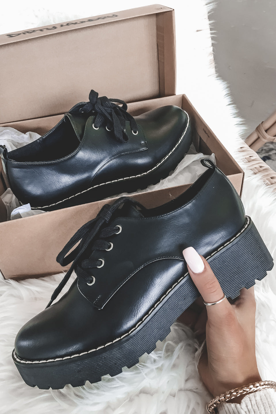 Melodies Smooth Black Oxfords