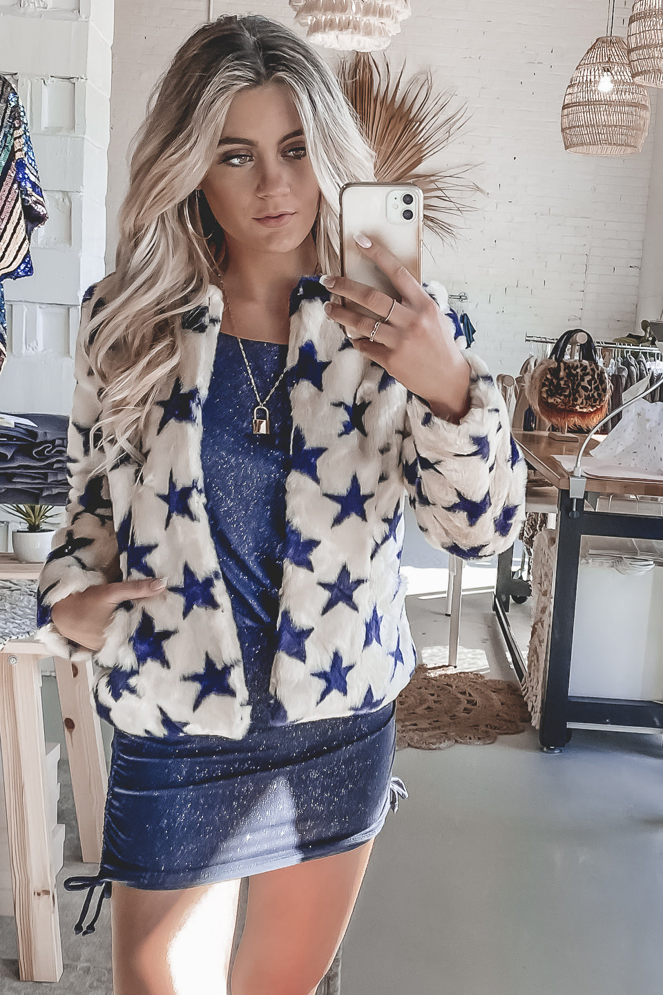 CHASER White Faux Fur Collarless Star Jacket