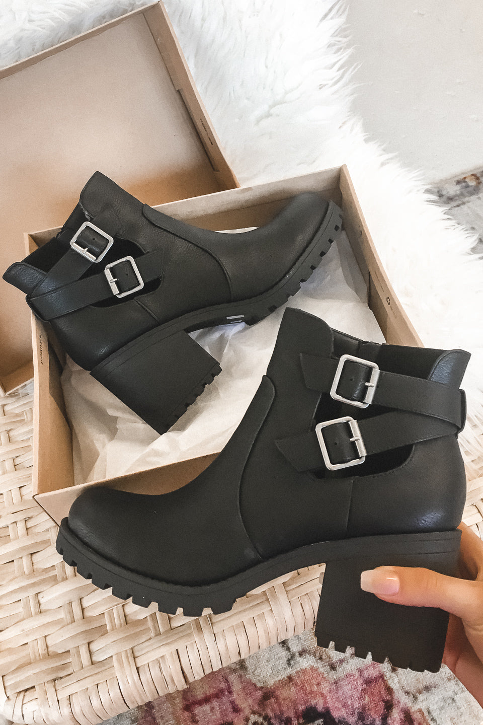 Fuel The Fire Level Black Buckle Booties