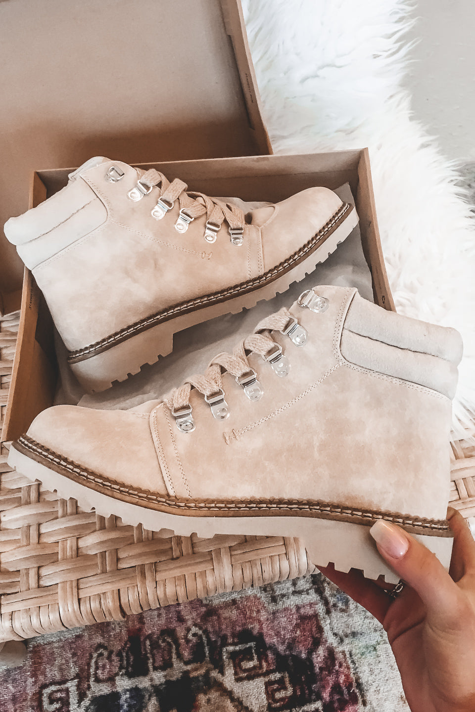 Take A Hike Cristal Cream Booties