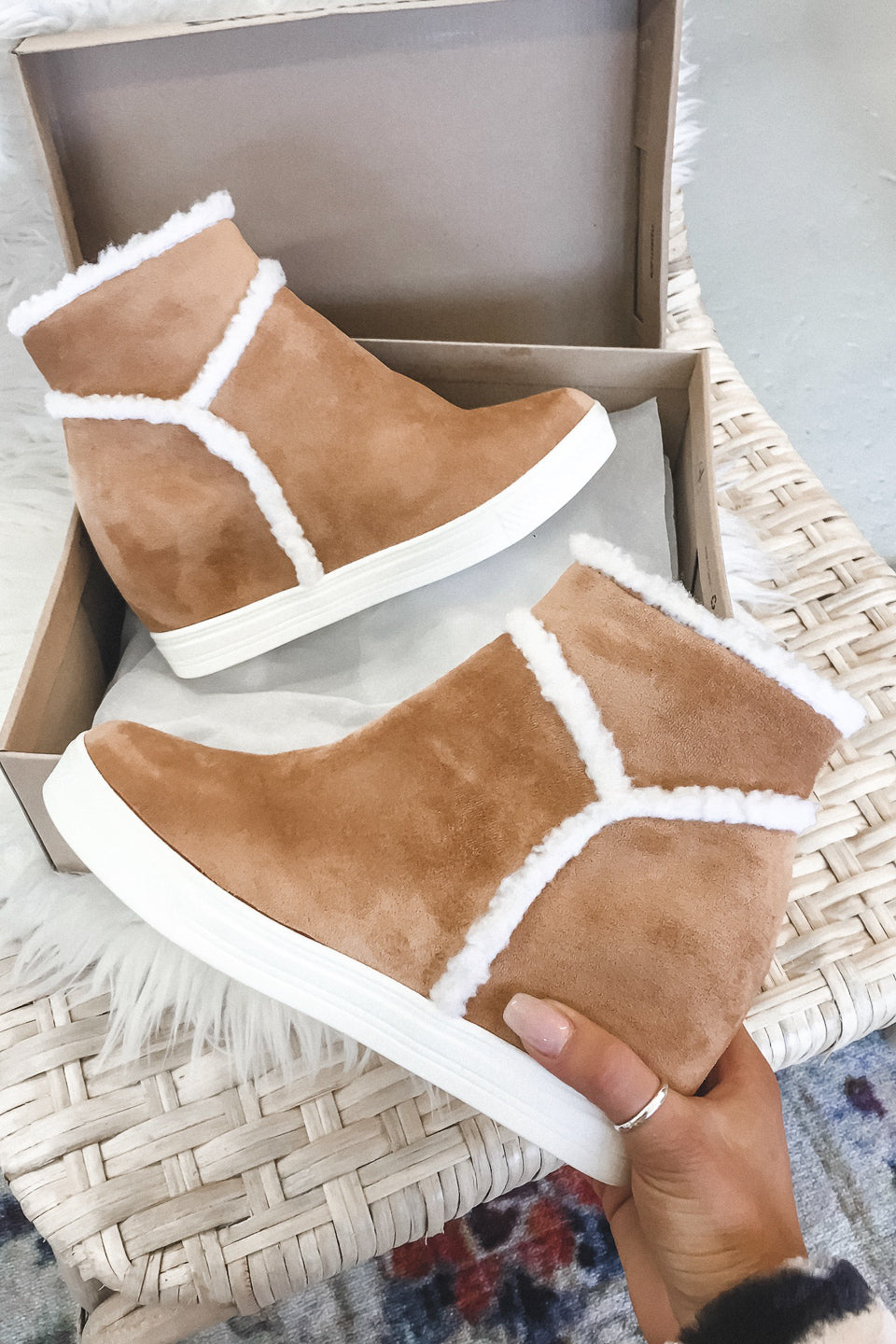 Warm My Heart Tan Fuzzy Booties