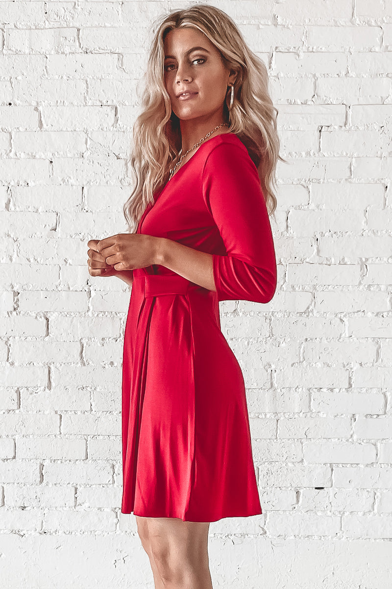 Queen Of You Red V-Neck Dress