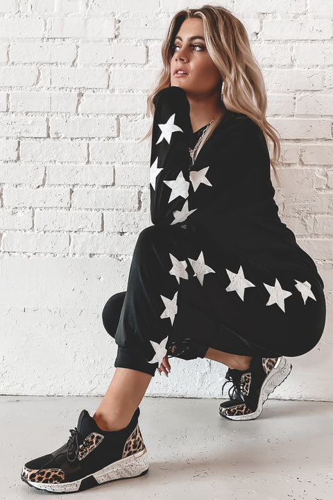 Day Star Print Black Long Sleeve Top