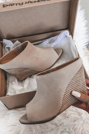 In Another World Nude Wedge Mules