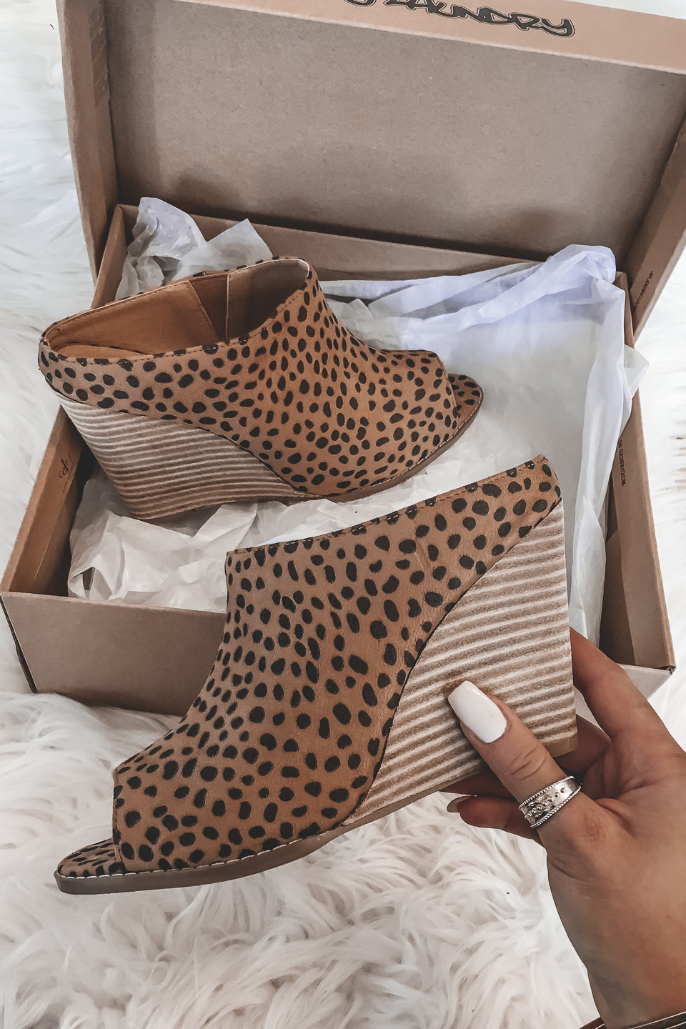 In Another World Leopard Wedge Mules