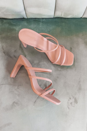 Rose Colored Champagne Strappy Heels