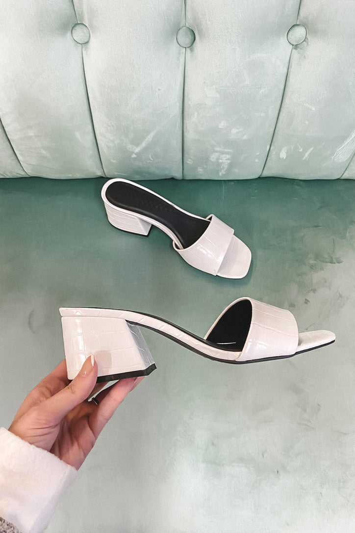 See You Later White Croc Block Heels
