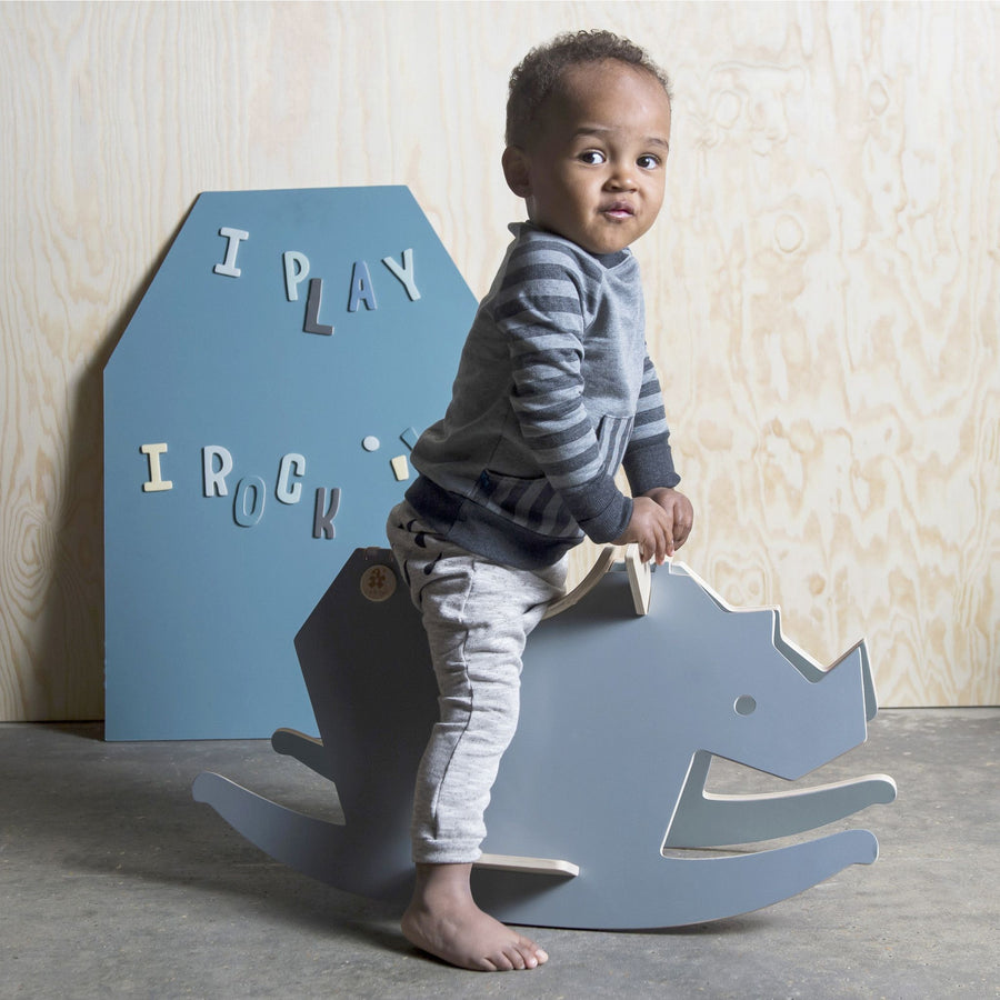 Sebra - Wooden rockinghorse - I Rock - cloud blue/grey - Toy rocking - Bmini | Design for Kids