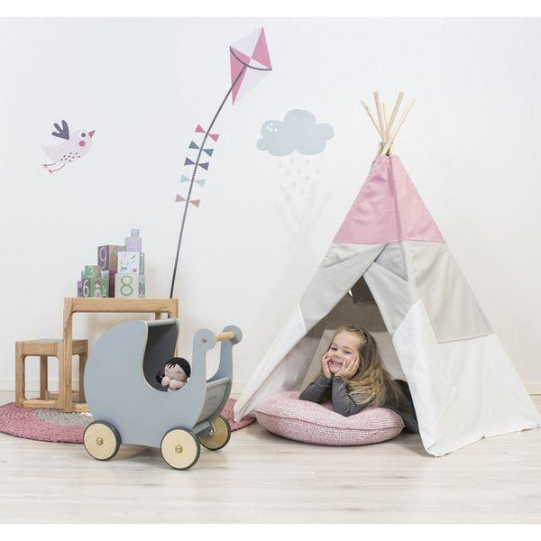 Sebra - Play teepee w/window - doublesided - rose/turq.