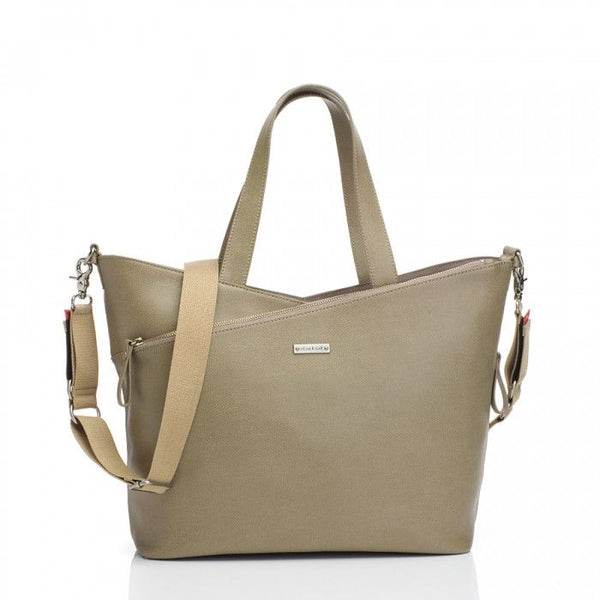 Storksak - Leather Diaper Bag - Lucinda Taupe - Diaper bags - Bmini | Design for Kids