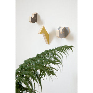Sebra - Wooden wall hooks - rhino and friends - Warm Grey - Wall hook - Bmini | Design for Kids