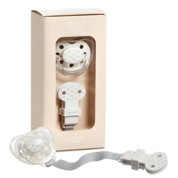 Armani Baby - White Dummy and Clip Set