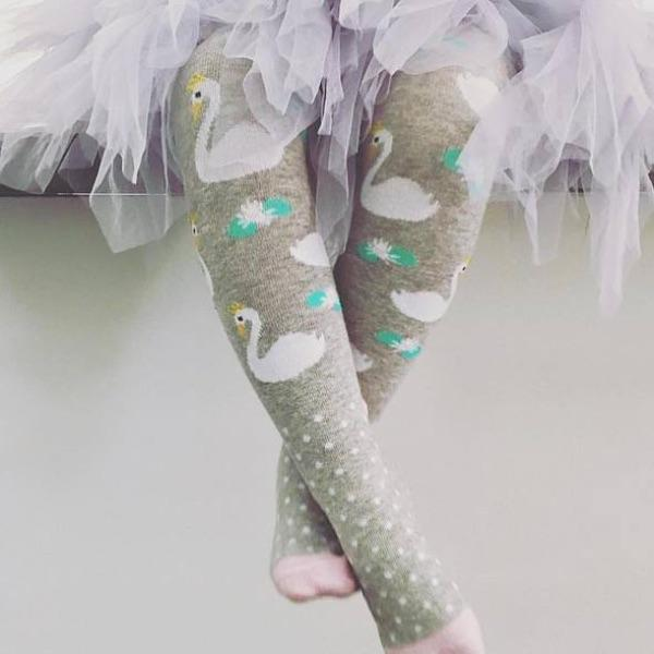Billy Loves Audrey - Tights - Swan - Socks & Tights - Bmini | Design for Kids