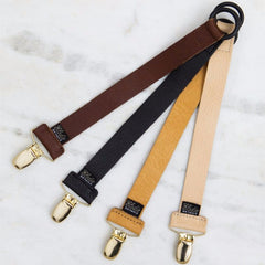 Elodie details - Pacifier Clip - Leather Cognac - Pacifier Clip - Bmini | Design for Kids