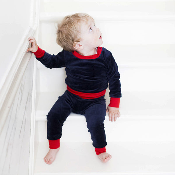 Mundo Melocotón - Pyjama 2-piece Velvet - Retro Blue - Red - Clothing-Pyjama - Mundo Melocoton - Bmini - Design for Kids - 1