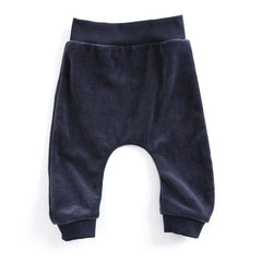 Mundo Melocotón - Baby Baggy Pants Velvet - Navy Grey - Pants - Mundo Melocoton - Bmini - Design for Kids