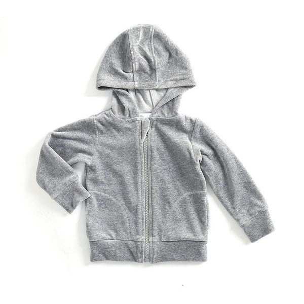 Mundo Melocotón - Hoodie Velvet - Grey - Melee - Clothing-Tops - Mundo Melocoton - Bmini - Design for Kids