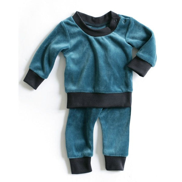 Mundo Melocotón - Pyjama 2-piece Velvet - Aqua - Navy Grey - Clothing-Pyjama - Bmini | Design for Kids