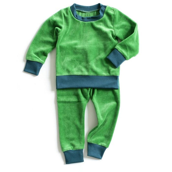 Mundo Melocotón - Pyjama 2-piece Velvet - Green - Aqua - Clothing-Pyjama - Bmini | Design for Kids