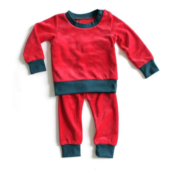 Mundo Melocotón - Pyjama 2-piece Velvet - Red - Aqua - Clothing-Pyjama - Mundo Melocoton - Bmini - Design for Kids