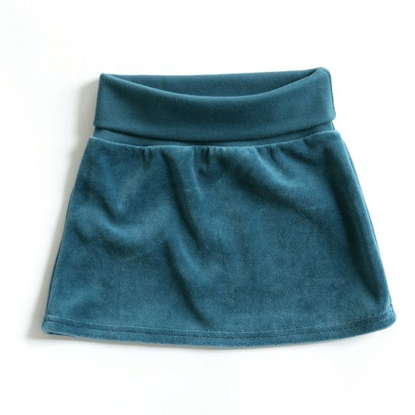 Mundo Melocotón - Skirt Velvet - Aqua - Clothing-Skirt - Mundo Melocoton - Bmini - Design for Kids