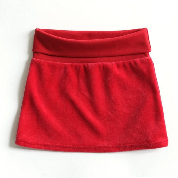 Mundo Melocotón - Skirt Velvet - Red - Clothing-Skirt - Mundo Melocoton - Bmini - Design for Kids