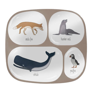 Sebra - Melamine plate - 4 rooms - Arctic Animals