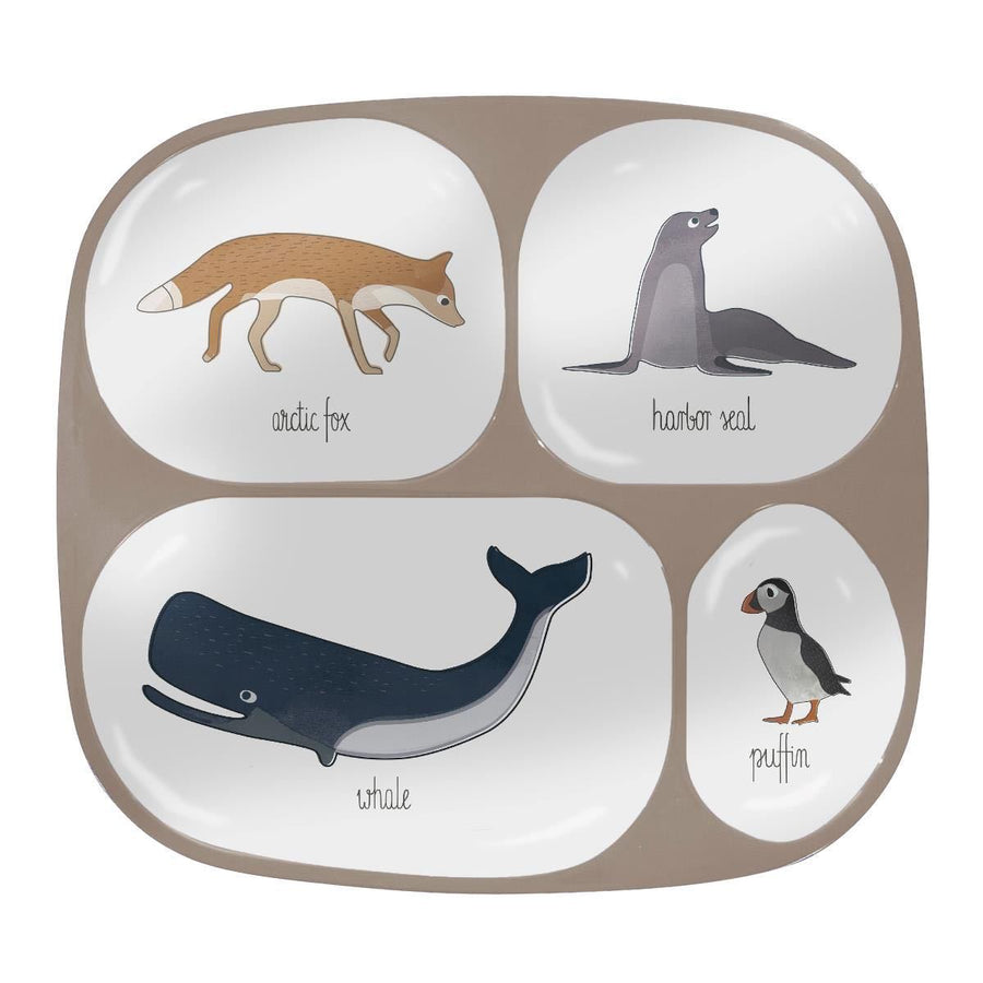 Sebra - Melamine plate - 4 rooms - Arctic Animals - Eat - Bmini | Design for Kids