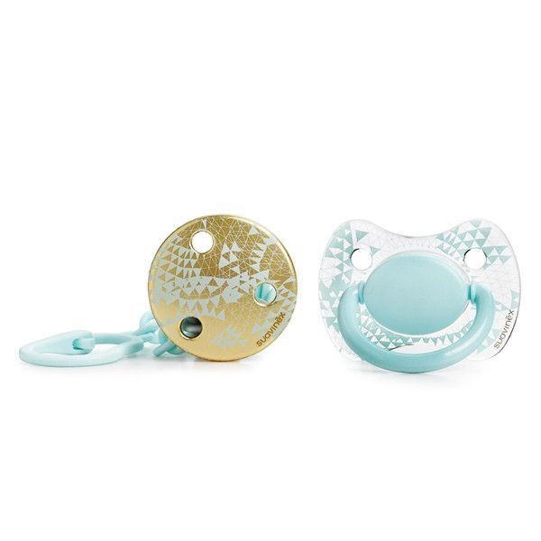Suavinex - Blue Haute Couture pacifier #3 & soother chain (+4m) - Pacifier - Suavinex - Bmini - Design for Kids - 1