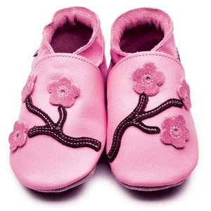 Baby shoes Cherry Blossom (Pink/Chocolate) - Inch Blue - Shoes - Bmini | Design for Kids