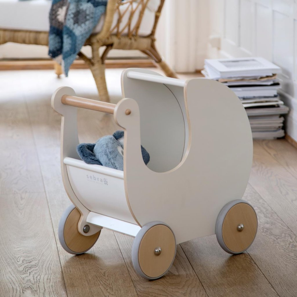 Sebra - Wooden Dolls Pram - White