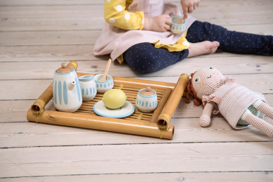 Sebra - Dolls tea set - Classic white/Dusty teal - Dolls accessories - Bmini | Design for Kids