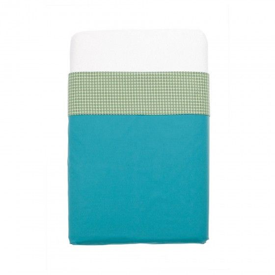 Mundo Melocoton - Aqua blue cot sheets (120x150) - Bedding - Bmini | Design for Kids