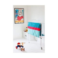 Mundo Melocotón - Aqua blue/red Duvet cover  (100x140cm) - Duvet Cover - Bmini | Design for Kids