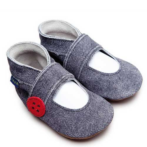 Baby Shoes Mary Jane Button Denim -  Inch Blue - Shoes - Bmini | Design for Kids