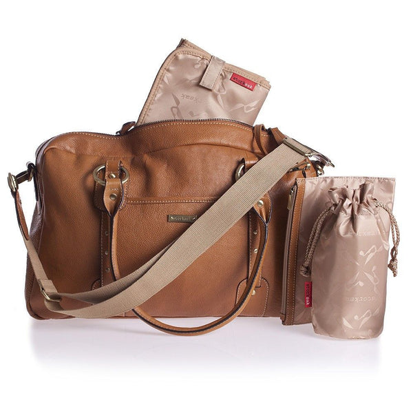 Storksak Elizabeth - Diaper Bag - Tan Leather - Diaper bags - Bmini | Design for Kids