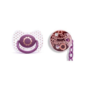 Suavinex - Haute Couture Pacifier Purple Flower with soother chain - Pacifier - Bmini | Design for Kids