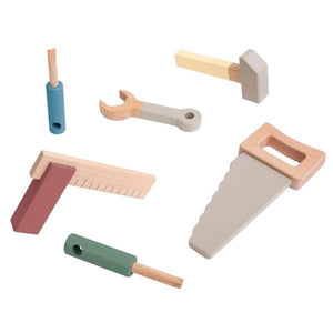 Sebra - Wooden tool set - Warm grey - 6 pcs