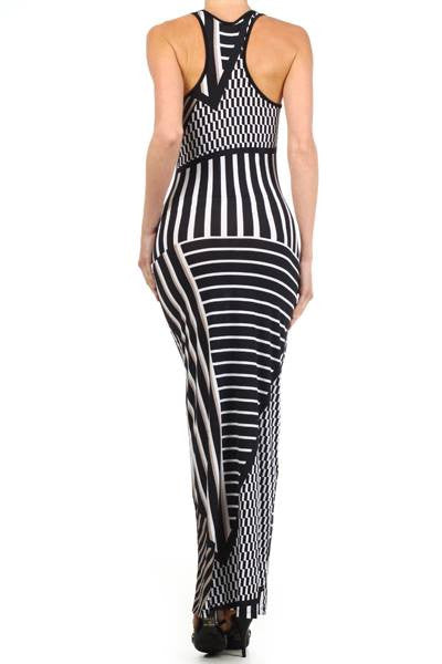 Multi Striped Tank Maxi With Racer Back AS SEEN ON JWOWW