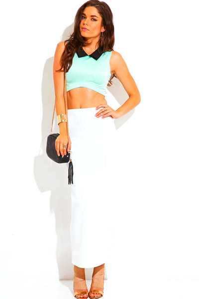 Mint and Black Collar Crop Shell Tank Top