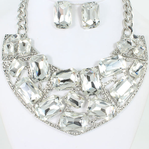 Rectangle Crystal Necklace Set