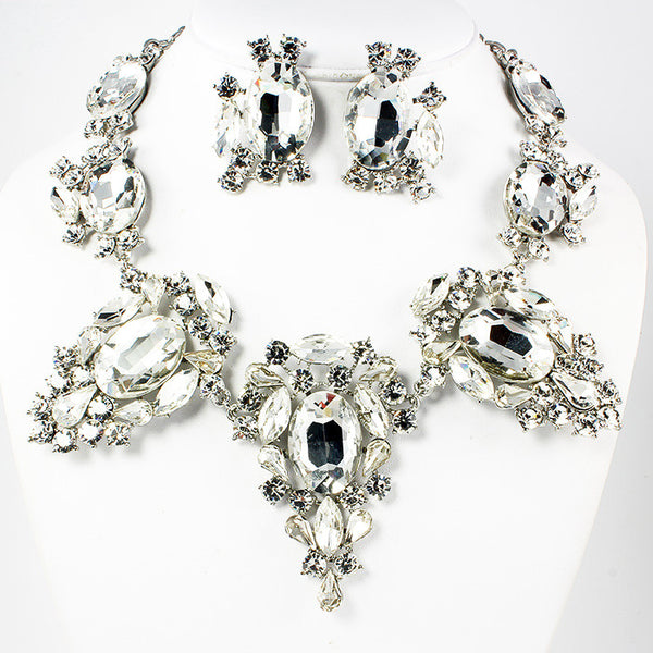 Crystal Oval Necklace Set