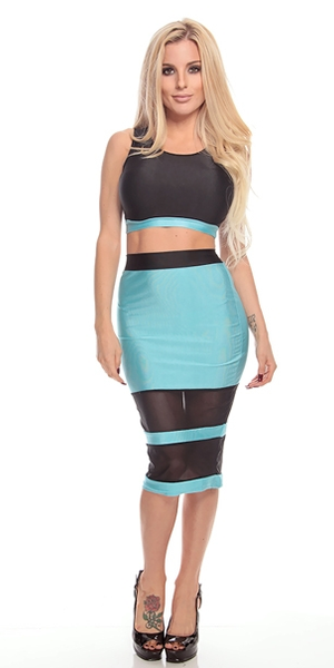 Mint & Black 2 Piece Dress