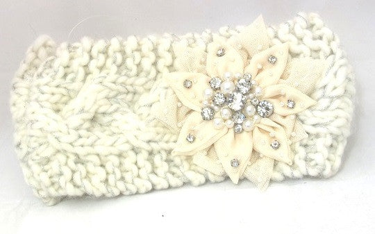 Knitted Bling Flower Ear Warmer
