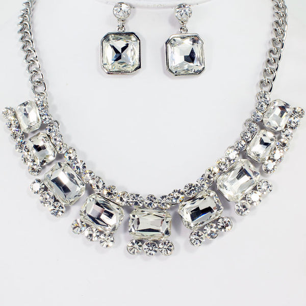 Square Crystal Necklace Set