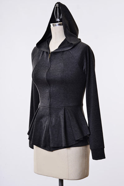 Peplum Style Hooded Zip Up AS SEEN ON MELISSA GORGA